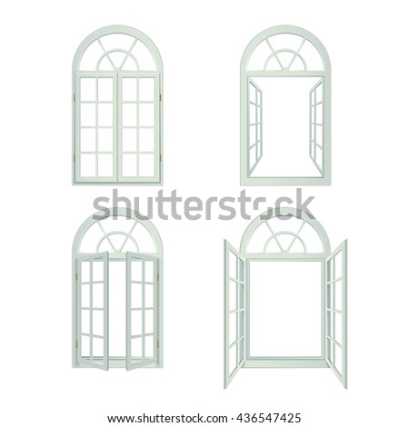 Arched Windows Icons Set. Arched Windows Vector Illustration.Arched Windows Decorative Set.  Arched Windows Design Set. Arched Windows Realistic Isolated Set. - stock vector