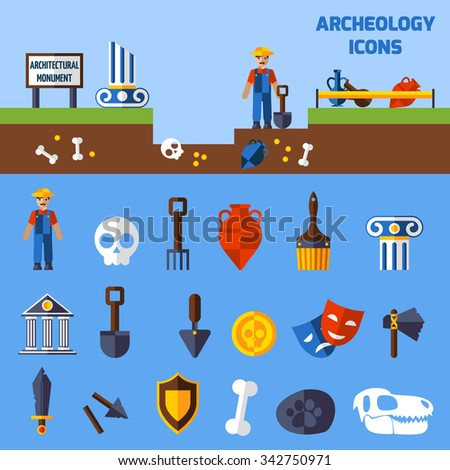 Archeology icons set  with paleontological finds and tools for excavations  vector illustration - stock vector