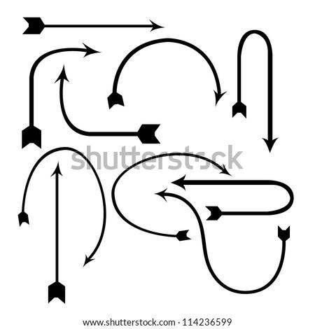 archer, arrow set, black - stock vector