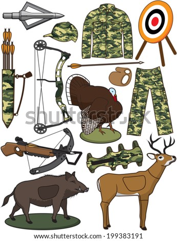 Archery Items - stock vector