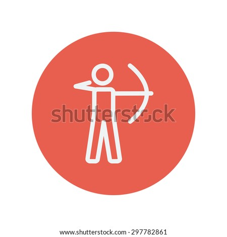 Archery sport thin line icon for web and mobile minimalistic flat design. Vector white icon inside the red circle. - stock vector