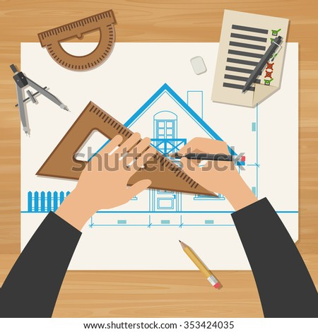 Architect at work. Simple vector illustration of blueprints with professional drawing equipment. - stock vector