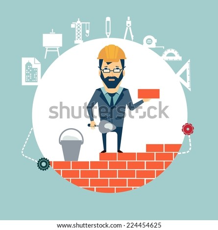 architect building a house brick by brick illustration - stock vector