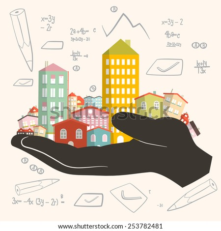 Architect Building Project - Development Vector Illustration - Paper Houses in Human Hand - stock vector