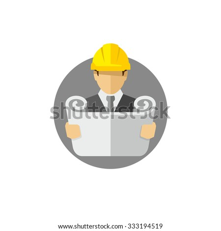 Architect Businessman with blueprint vector icon  - stock vector