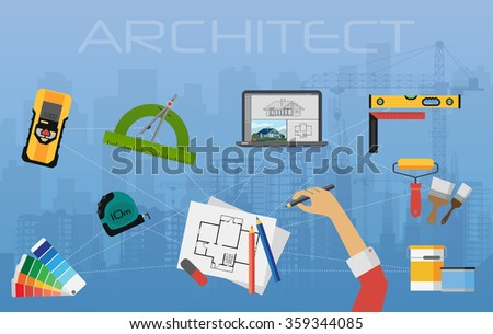 Architect construction planning and creating process. architectural project, technical concept top view. Architect construction planning concept, Architect construction planning illustration. - stock vector