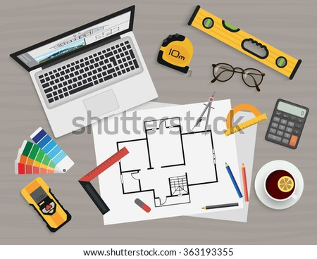 Architect construction planning and creating process with proffesional tools. Projects technical concept. Workplace top view. Architect Workplace illustration, Architect Workplace image - stock vector