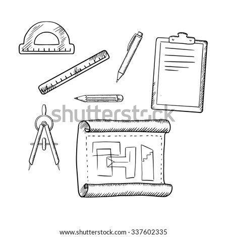Architect drawing, compasses, pencil, pen, ruler, half circle protractor and clipboard sketch icons - stock vector