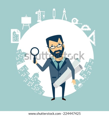 architect expert looking through a magnifying glass illustration - stock vector