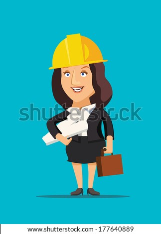 Architect female holding blueprint plans of construction site and building vector illustration - stock vector