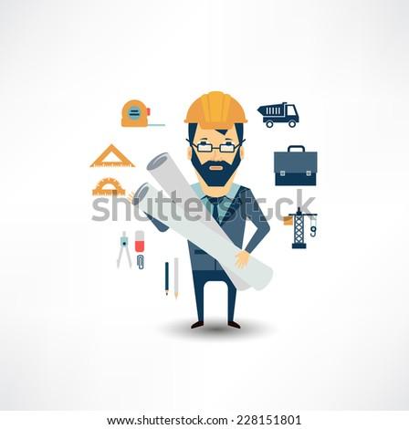architect  holding blueprints  - stock vector