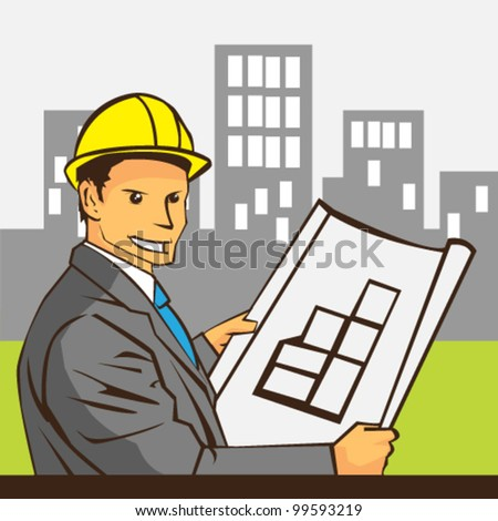 Architect holding blueprints vector - stock vector