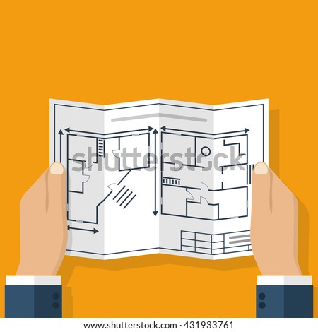 Architect holding in hand blueprint house.  Construction project, a sketch plan. Engineer holding a blueprint. Vector flat design illustration - stock vector