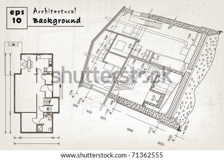 architect house plan. vector blueprint. EPS10
