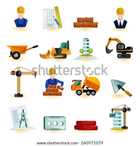 Architect industrial and construction engineer decorative icons set isolated vector illustration - stock vector