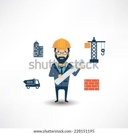 architect looking for construction - stock vector