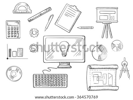 Architect or education icons with sketched desktop computer surrounded by icons of board, blueprint, graphs, calculator and a light bulb on the screen - stock vector