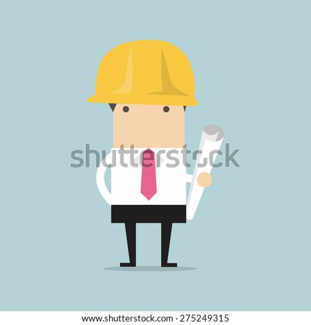 Architect or engineer in yellow safety helmet with building project blueprints rolls, for investor presentation on construction industry concept design - stock vector