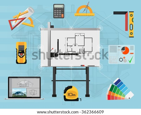 Architect Panel board planning and creating process with proffesional tools. Architectural project, technical concept. Architect worlplace, Architect worlplace isolated, Architect worlplace image. - stock vector