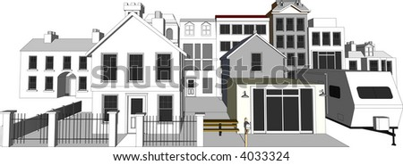 Architect's Town Community Model isolated on white (Vector fully resizable and editable) - stock vector