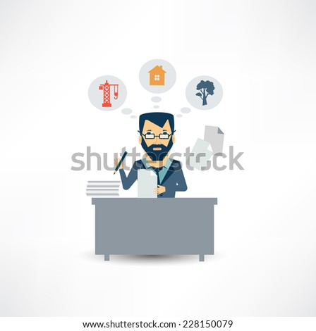 architect sitting Documents - stock vector