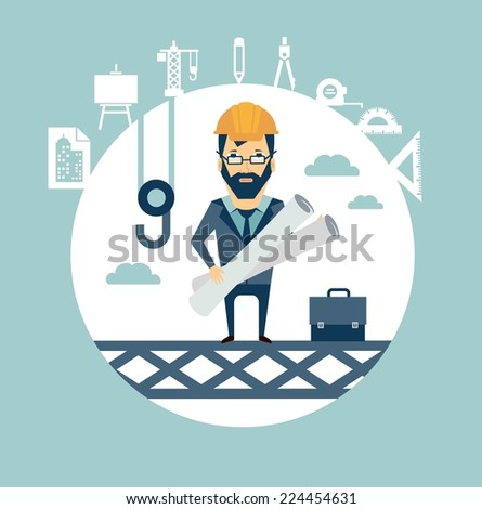 architect stands high on a building site and oversees the construction of illustration - stock vector