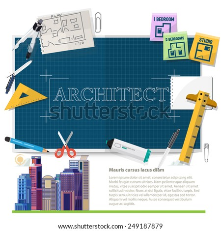 architect tool and equipments - vector illustration - stock vector