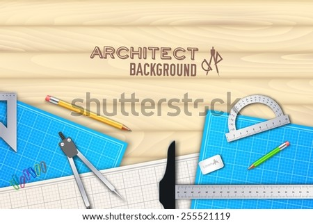 Architect wood table project with professional equipment background concept. Vector illustration design - stock vector