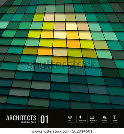 Architects abstract multicolored tiles materials design background, vector illustration - stock vector