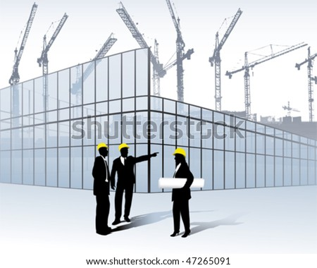 architects on a construction site - stock vector