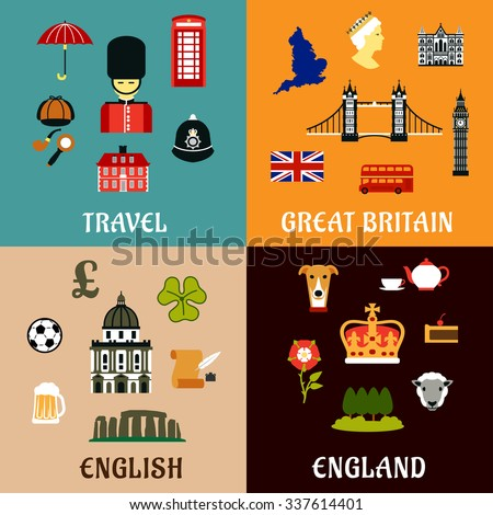Architectural and historical landmarks, culture and national symbols of Great Britain. Travel design flat icons - stock vector