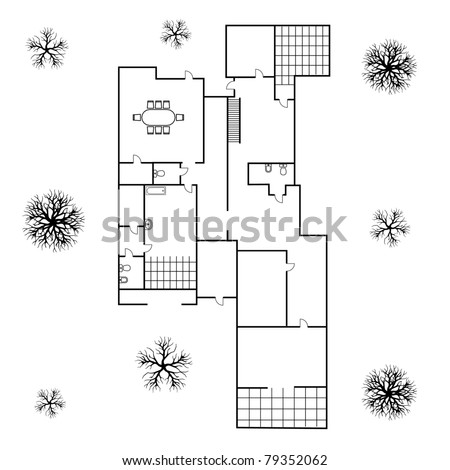 architectural background. blueprint of big house - stock vector