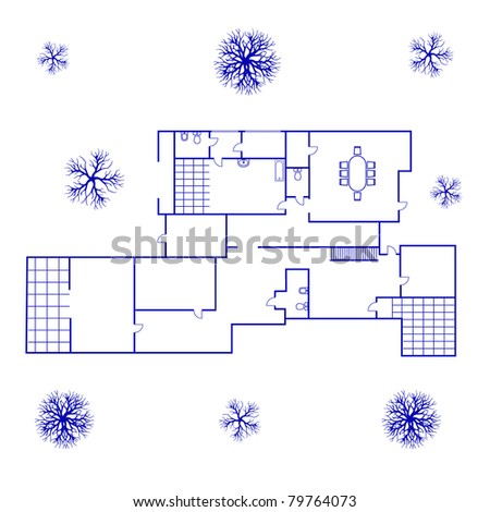 Architectural background blueprint big house blue stock vector architectural background blueprint of big house in blue color malvernweather Images