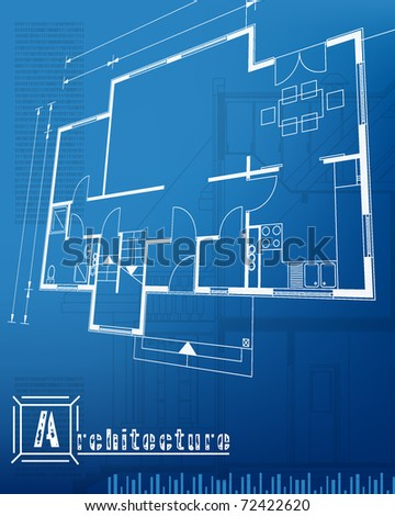 architectural background blueprint. vector illustration - stock vector