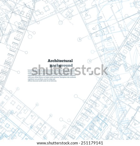 Architectural background. Gray-blue building plan silhouette on white background. Vector illustration. - stock vector
