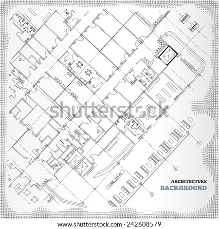 Architectural background. Gray building plan silhouette on white vintage background. Vector illustration. - stock vector