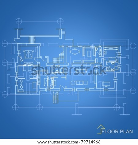 Architectural background / House blueprint - stock vector