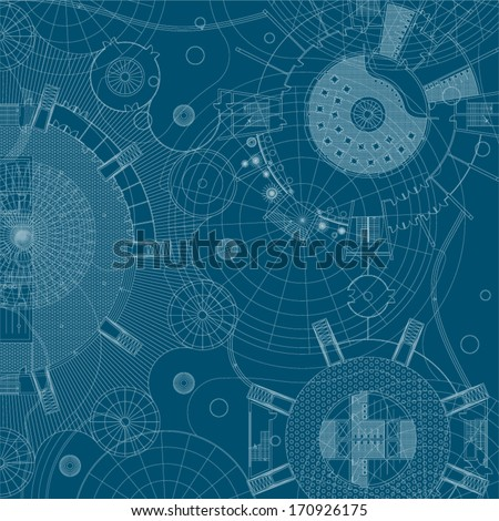 Architectural background. Vector blueprint. - stock vector