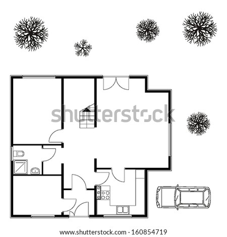 architectural background. vector blueprint with trees  - stock vector