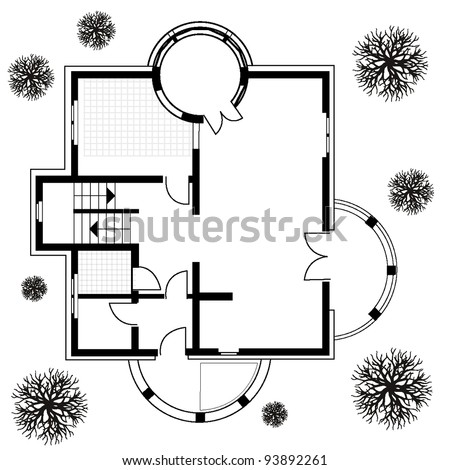 architectural background. vector blueprint with trees and car - stock vector