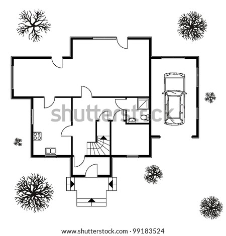 Architectural background vector blueprint trees car stock vector hd architectural background vector blueprint with trees and car malvernweather Choice Image