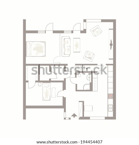 Architectural Background Vector Drawing Building Plan Stock Vector