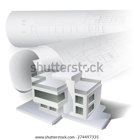 Architectural background with a building model and rolls of drawings. Part of architectural project, architectural plan, technical project, construction plan