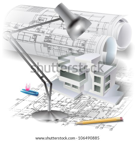 Architectural background with a 3D building model and rolls of drawings. Vector clip-art - stock vector