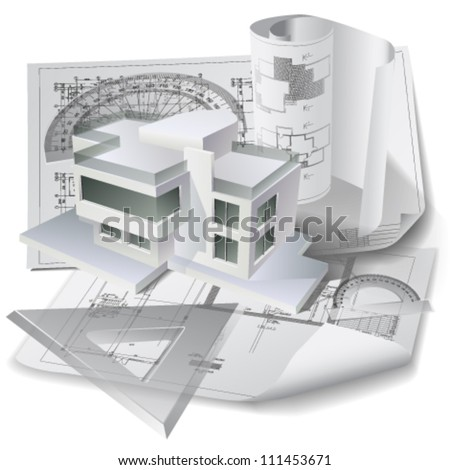Architectural background with a 3D building model and rolls of technical drawings. Part of architectural project. Vector clip-art - stock vector
