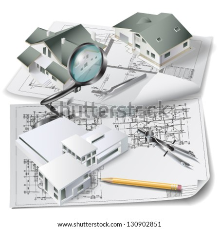 Architectural background with a 3D building model, drawing tools and rolls of technical drawings. Part of architectural project. Vector illustration - stock vector