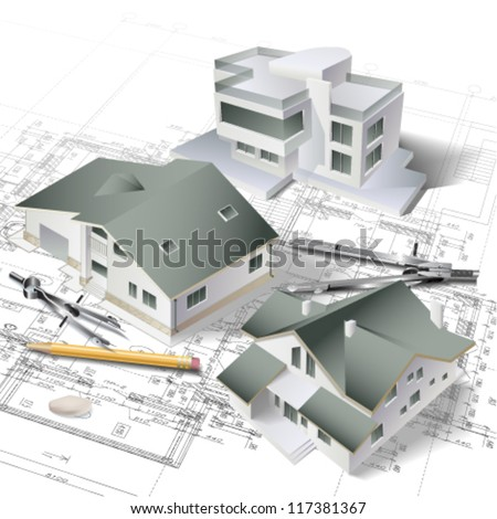 Architectural Background 3d Building Model Part Stock