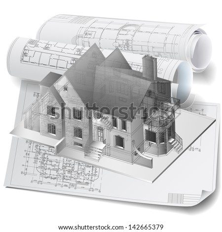 Architectural background with a 3D building model. Part of architectural project, architectural plan, technical project, construction plan - stock vector
