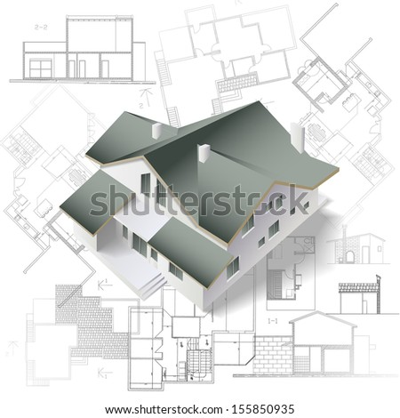 Architectural background with a 3D building model. Part of architectural project, architectural plan, technical project, construction plan