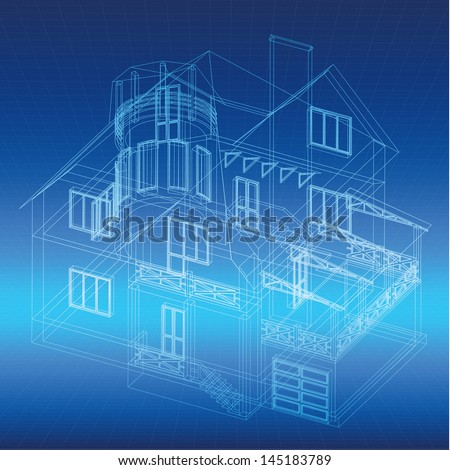 Architectural background with a 3D building model. Vector clip-art - stock vector